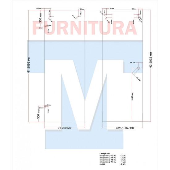 Комплект для душевой раздвижной перегородки арт. 078z (Хром, Цинк)
