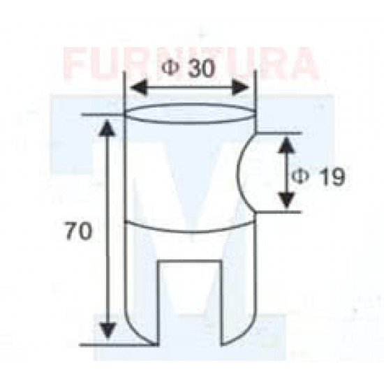 Коннектор не сквозной арт. 917 стекло-труба для круглой трубы Ф 19 (Хром)